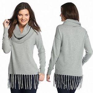 MK Cowl Neck Fringe Sweater